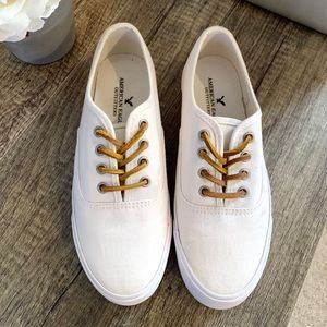 American Eagle White Canvas Keds Style Sneakers